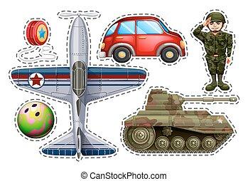 pegatina, conjunto, diferente, juguetes