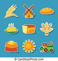 pegatina, cultivo, cereal, agricultura, set., icono