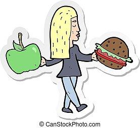 pegatina, de, un, caricatura, mujer, decidir, para comer,...