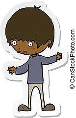 pegatina, de, un, caricatura, niño, con, brazos extendidos