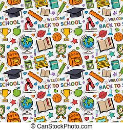 pegatina, escuela, pattern.
