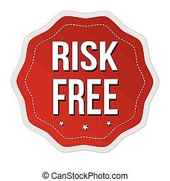 pegatina, etiqueta, o, libre, riesgo