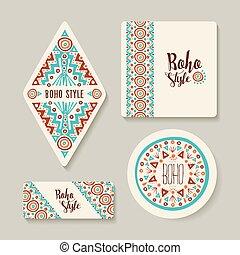 pegatina, etiquetas, o, estilo, conjunto, arte, tribal, boho