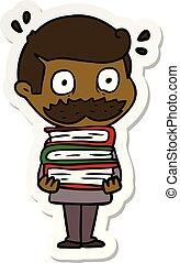pegatina, libros, caricatura, bigote, hombre
