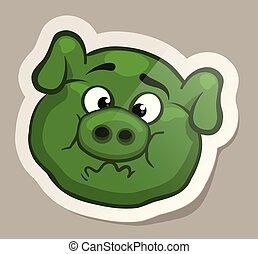pegatina, nauseabundo, cerdo