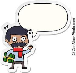pegatina, navidad, discurso, presente, burbuja, caricatura,...
