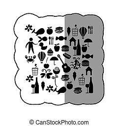 pegatina, negro, silueta, conjunto, elementos, vida diaria, icono