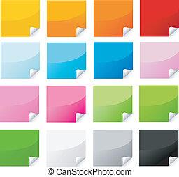 pegatina, postit, conjunto, colorido