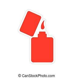 pegatina, realista, papel, diseño, encendedor, icono