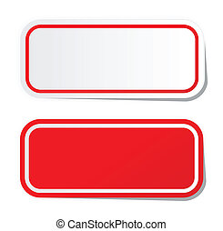 pegatina, rojo, blanco