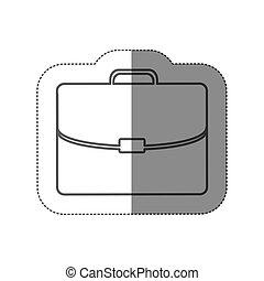 pegatina, silueta, maletín, ejecutivo, icono, plano