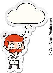 pegatina, sorprendido, pensamiento, impreso, burbuja,...