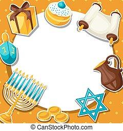 pegatina, tarjeta, hanukkah, objetos, feriado, judío, ...