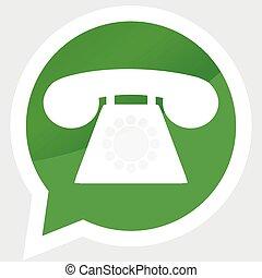 pegatina, teléfono, aparato, diseño, plano