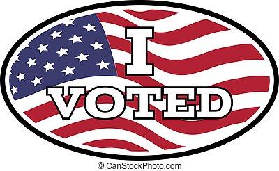pegatina, vector, fondo., texto, emblema, estados unidos, ilustración, voted, bandera