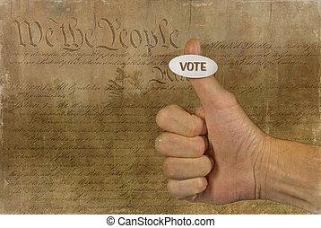pegatina, votación, pulgar