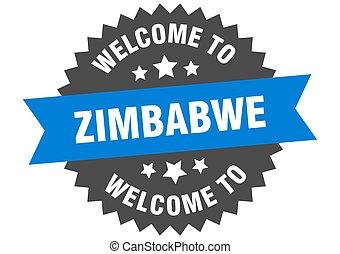 pegatina, zimbabwe, bienvenida, azul, signo.