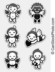 pegatinas, angels., conjunto, iconos