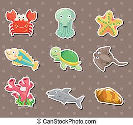 pegatinas, caricatura, animal, acuario