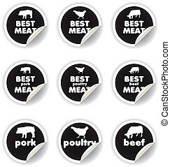 pegatinas, carne