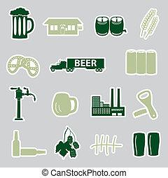 pegatinas, cerveza, conjunto, eps10