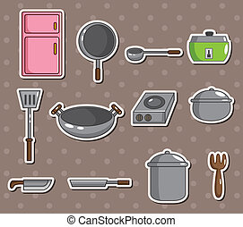 Gr ficos vectoriales eps de utensilios vector pegatinas cocina illustration - Pegatinas para cocinas ...