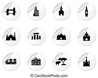 pegatinas, con, señal, iconos