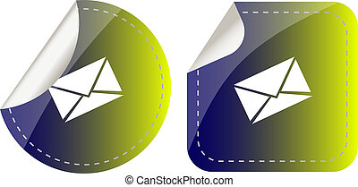 pegatinas, conjunto, aislado, blanco, con, papel, envíe, seguridad, concepto