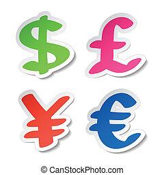 pegatinas, euro, libra, yen, dólar
