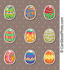pegatinas, huevo, caricatura, pascua