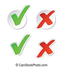 pegatinas, marca de verificación