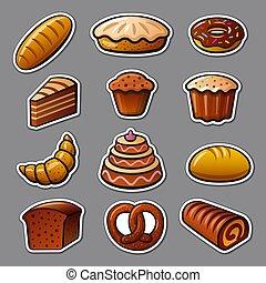 pegatinas, panadería, bread