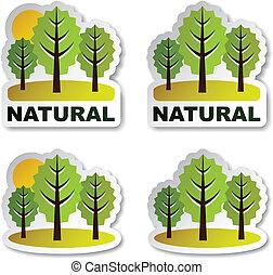 pegatinas, vector, árbol, natural, bosque