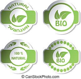 pegatinas, vector, -, natural, bio
