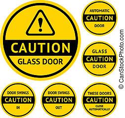pegatinas, y, etiquetas, en, el, puerta