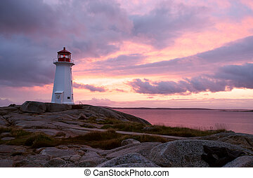Nova Scotia - Peggys Point Lighthouse at sunset, Nova Scotia