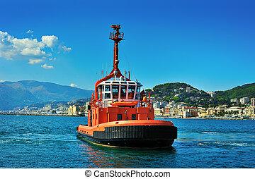 pegli, italie, genova, brûler, port, bateau