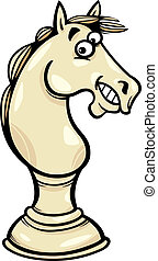 pegno, cavallo, scacchi, illustrazione, cartone animato