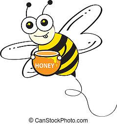 peigne, abeilles, &, miel