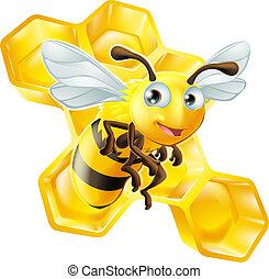 peigne miel, dessin animé, abeille