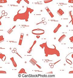 peignes, chien, rasoir, séchoir, modèle, laisse, cheveux, bol, scissors., collier