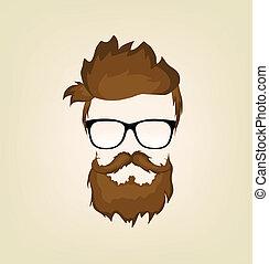 peinado, bigotes barba, anteojos