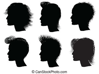 peinado, elementos, para, salón, con, face., vec, tor, retratos, de, hombre