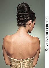peinado, espalda mujer, joven, elegante, vista, agradable