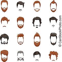 peinado, hombres, conjunto, iconos