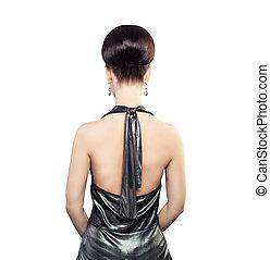 peinado, moda, espalda, bollo de pelo, hembra