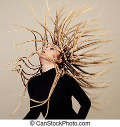 peinado, mujer, gorgona, joven, creativo, fantasía, dungeon...