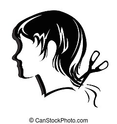 peinado, silueta, cara