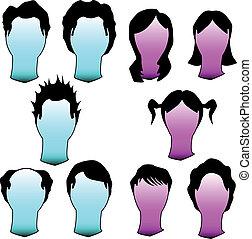 peinados, vector, silueta