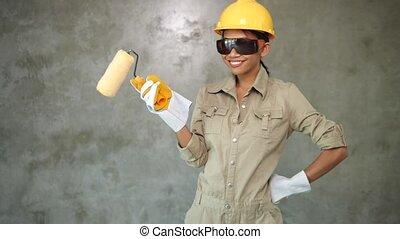 peindre cylindre, jeune fille, constructeur
